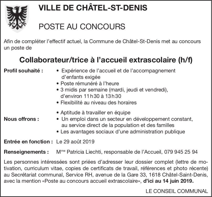Collaborateur/trice à l'accueil extrascolaire (h/f), Ville de Châtel-St-Denis, recherché