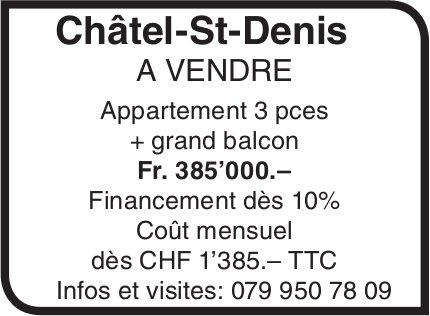 Appartement 3 pièces, Châtel-St-Denis, à vendre