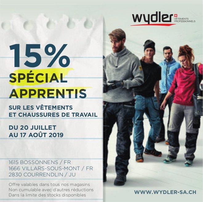 Wydler, 15% spécial apprentis du 20 juillet au 17 août