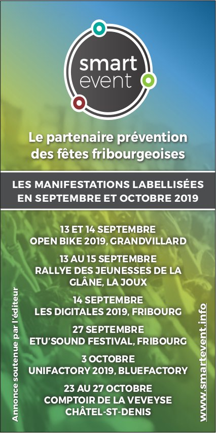 Smart Even - Le partenaire prévention des fêtes fribourgeoises en septembre et octobre 2019