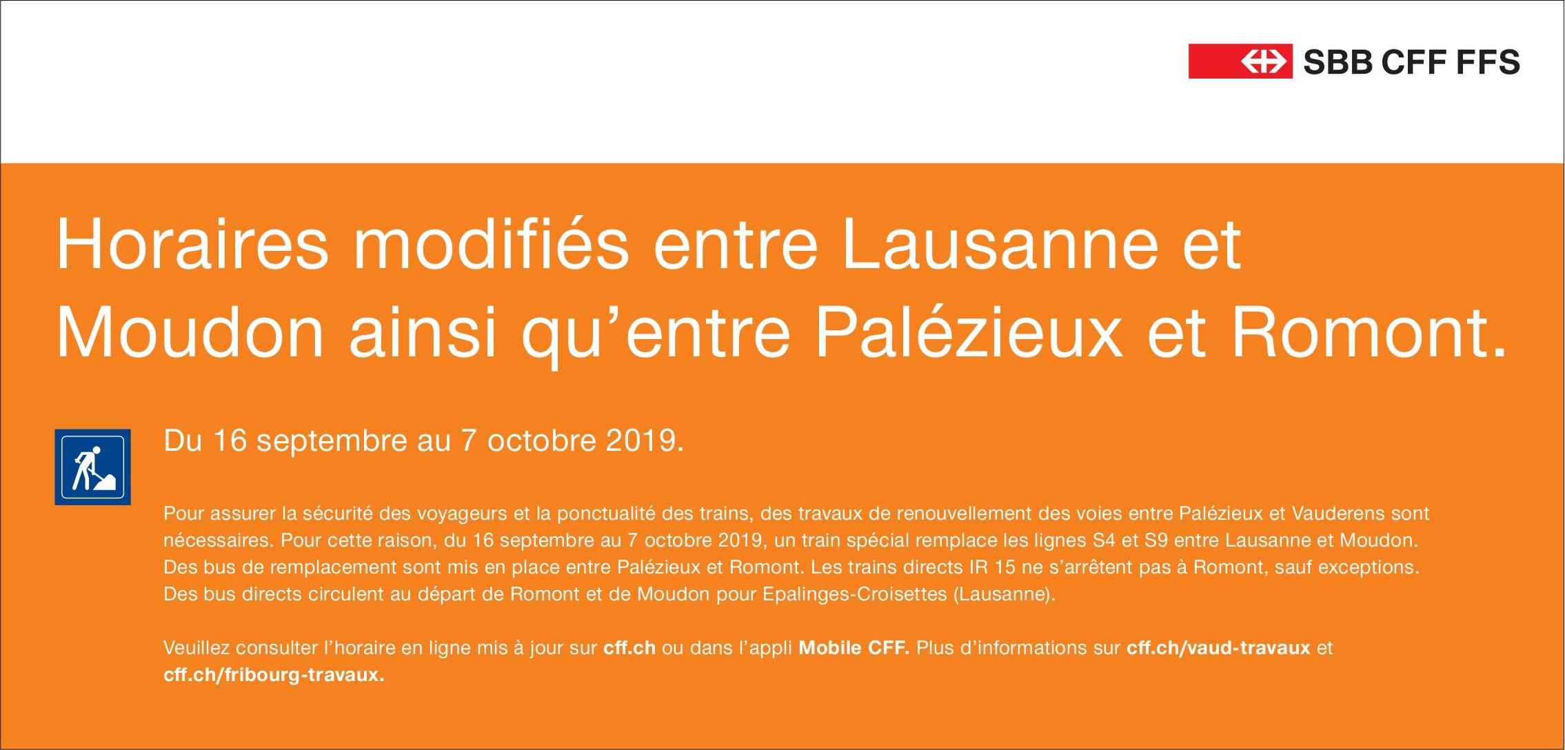 SBB - Horaires modifiés entre Lausanne et Moudon ainsi qu'entre Palézieux et Romont 16.09-07.10