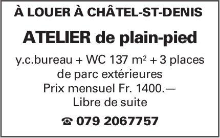 ATELIER DE PLAIN-PIED, CHÂTEL-ST-DENIS, À LOUER