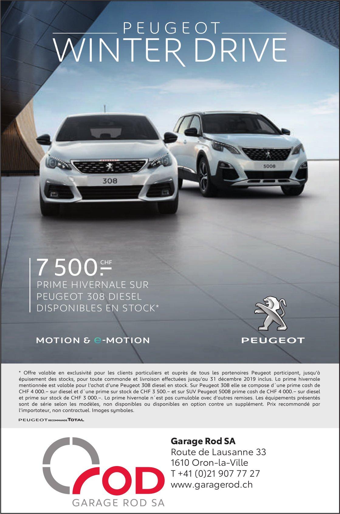Garage Rod SA, Oron-la-Ville, 7 500.- prime hivernale sur Peugeot