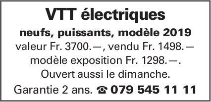 VTT électriques neufs, puissants, modèle 2019 valeur Fr. 3700.—, vendu Fr. 1498.—