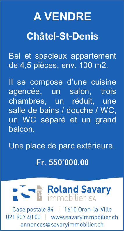 Roland Savary SA, Oron-la-Ville, a vendre sur Châtel-St-Denis