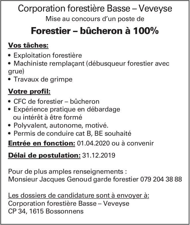 Forestier – bûcheron à 100%, Corporation forestière Basse – Veveyse, poste mise au concours