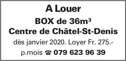BOX de 36m3, Centre de Châtel-St-Denis, à louer