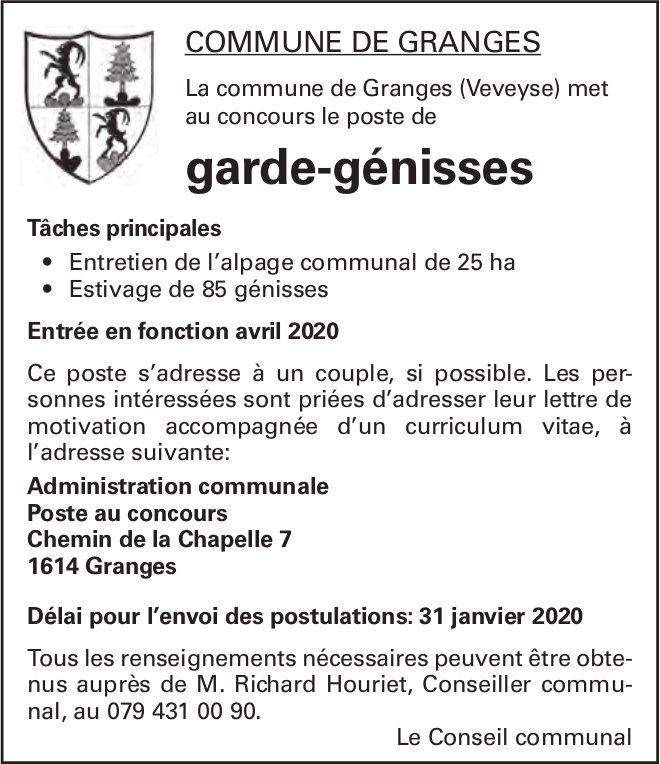Garde-génisses, commune de Granges, Granges, recherché/e