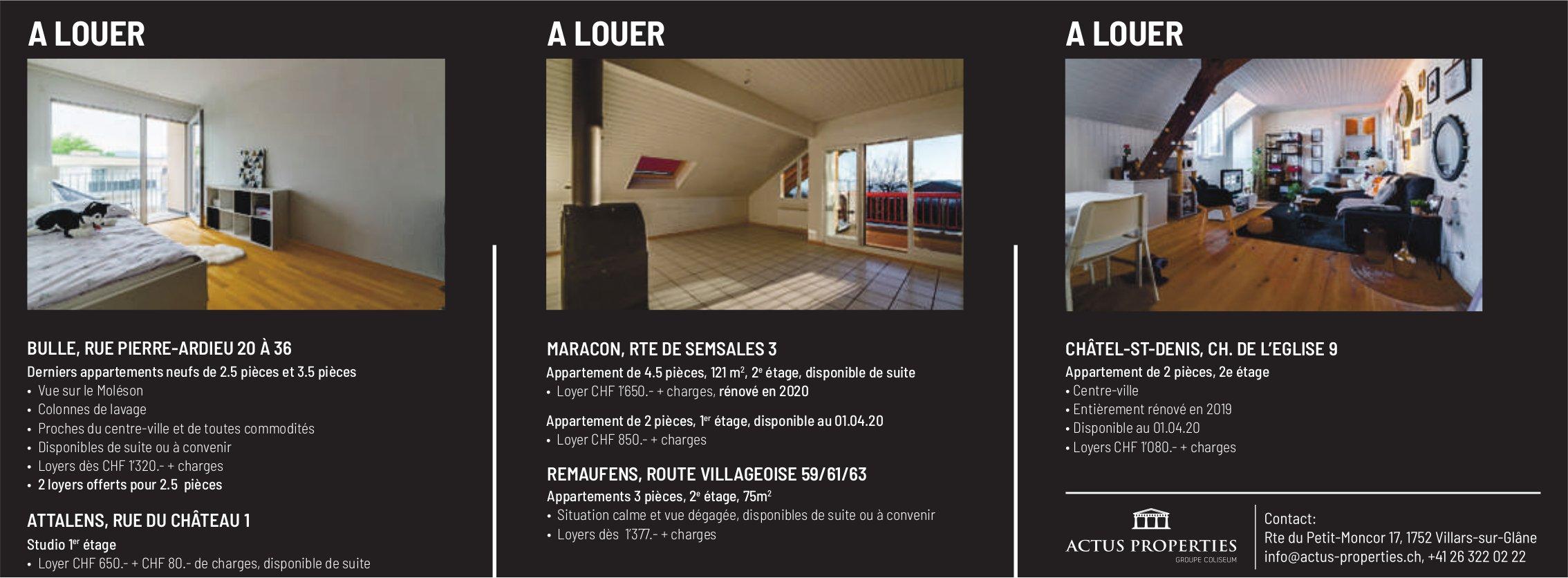 ACTUS PROPERTIES, Villars-sur-Glâne, à louer