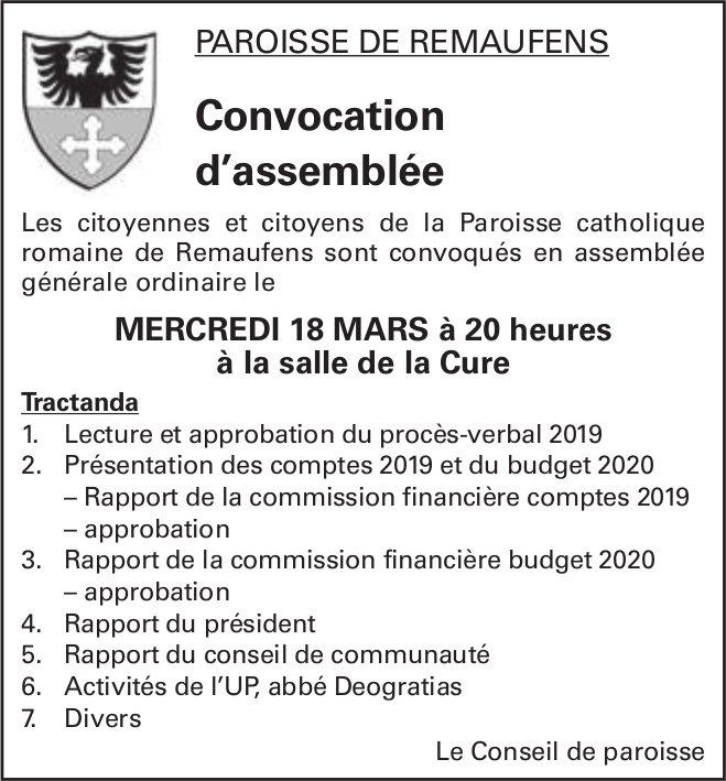 Convocation d'assemblée, 18 mars, Salle de la Cure, Paroisse de Remaufens
