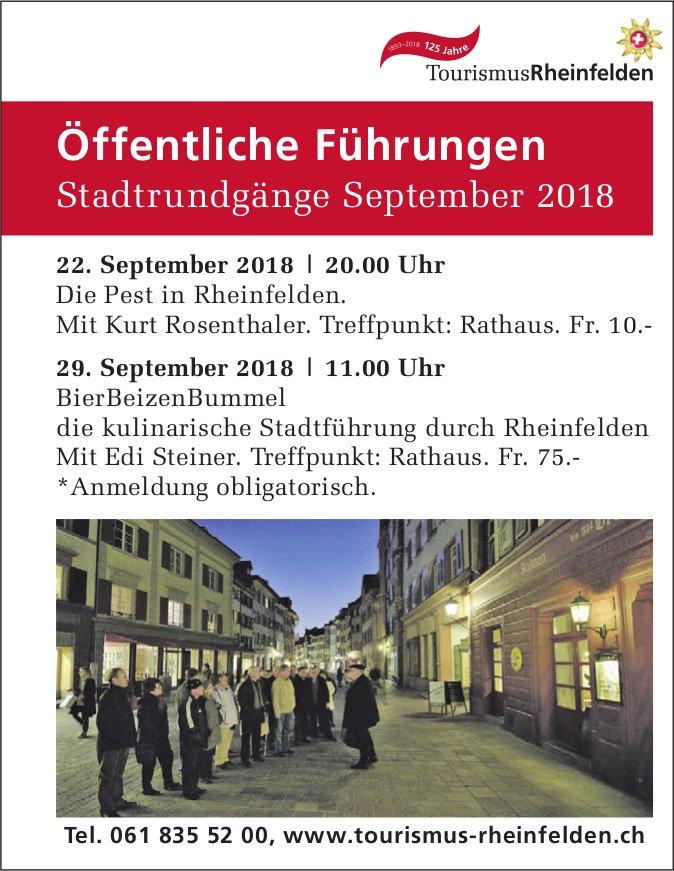Öffentliche Führungen - Stadtrundgänge September 2018, Rheinfelden