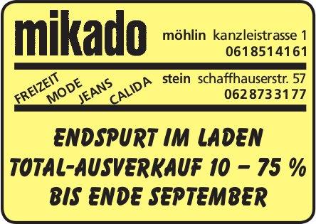 MIKADO - Endspurt im Laden Total-Ausverkauf 10–75% bis Ende September