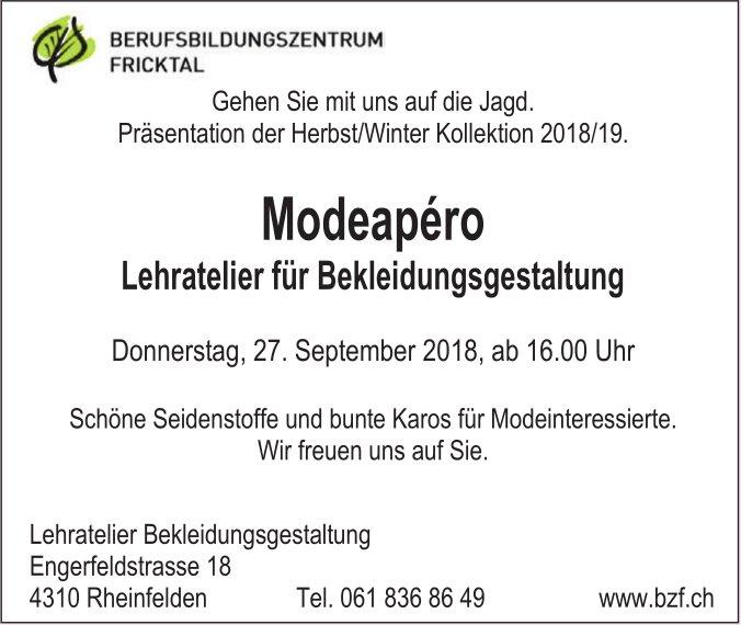 BERUFSBILDUNGSZENTRUM FRICKTAL - Modeapéro Lehratelier für Bekleidungsgestaltung am 27. September