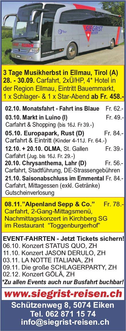 Siegrist Reisen - Programm & Events
