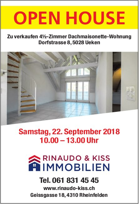 4½-Zimmer Dachmaisonette-Wohnung in Ueken zu verkaufen: Open House am 22. September