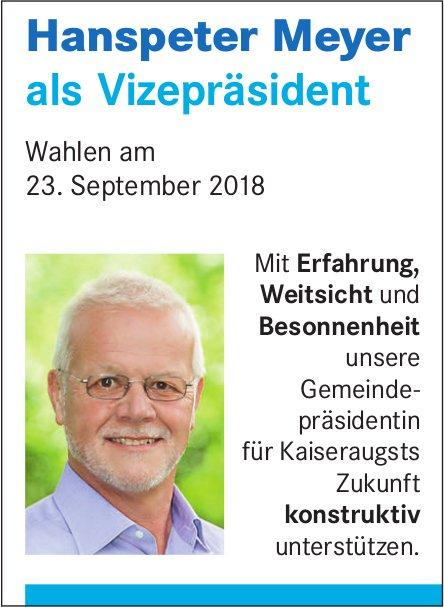 Hanspeter Meyer als Vizepräsident - Wahlen am 23. September