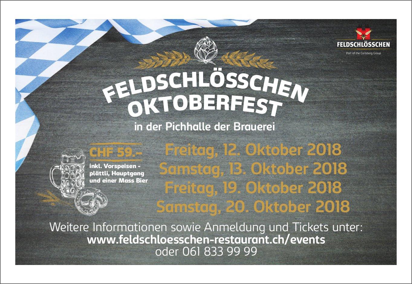 Feldschlössen Oktoberfest in der Pichhalle der Brauerei, 12./13. + 19./20. Oktober