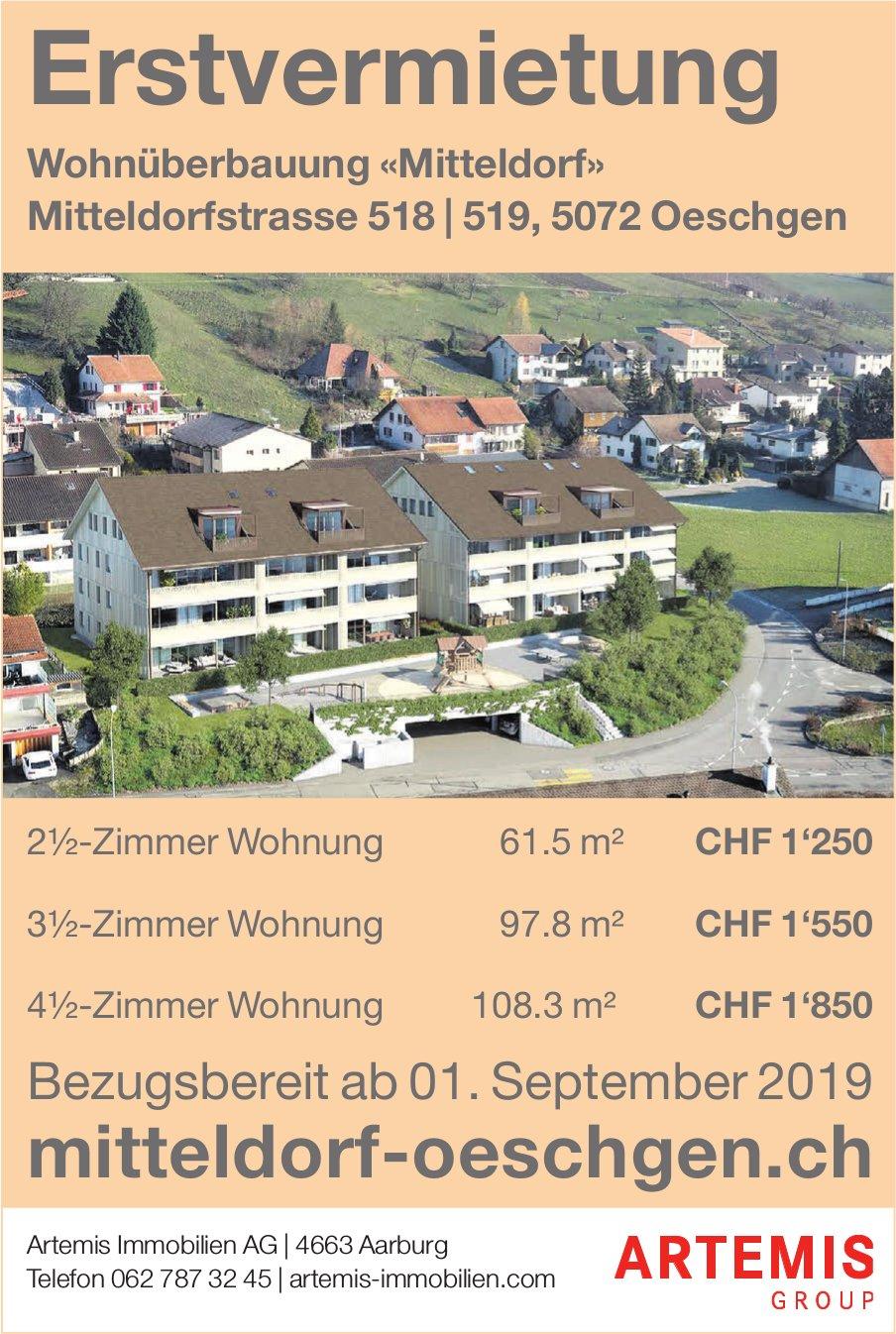 Erstvermietung Wohnüberbauung «Mitteldorf» in Oeschgen