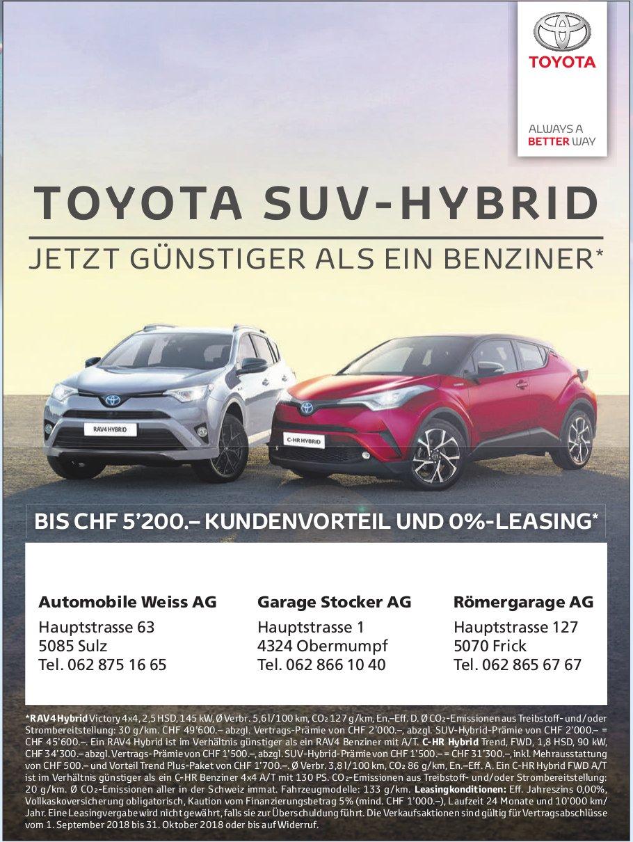 TOYOTA SUV-HYBRID - JETZT GÜNSTIGER ALS EIN BENZINER*