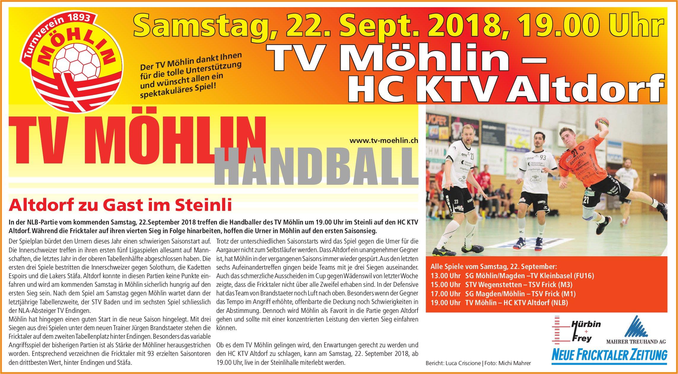TV Möhlin Handball vs. HC KTV Altdorf am 22. September