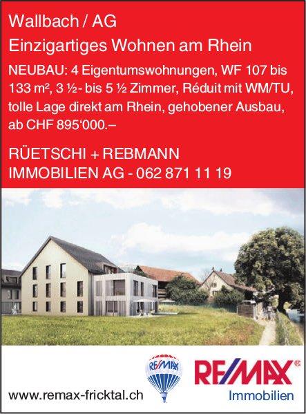 NEUBAU: 4 Eigentumswohnungen, 3 1/2- bis 5 1/2 Zimmer in Wallbach zu verkaufen