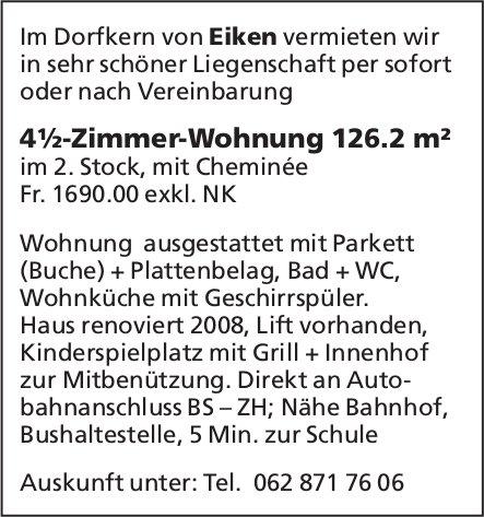 4½-Zimmer-Wohnung 126.2 m² im Dorfkern von Eiken zu vermieten