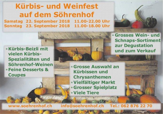 Kürbis- und Weinfest, 22./23. September, auf dem Söhrenhof