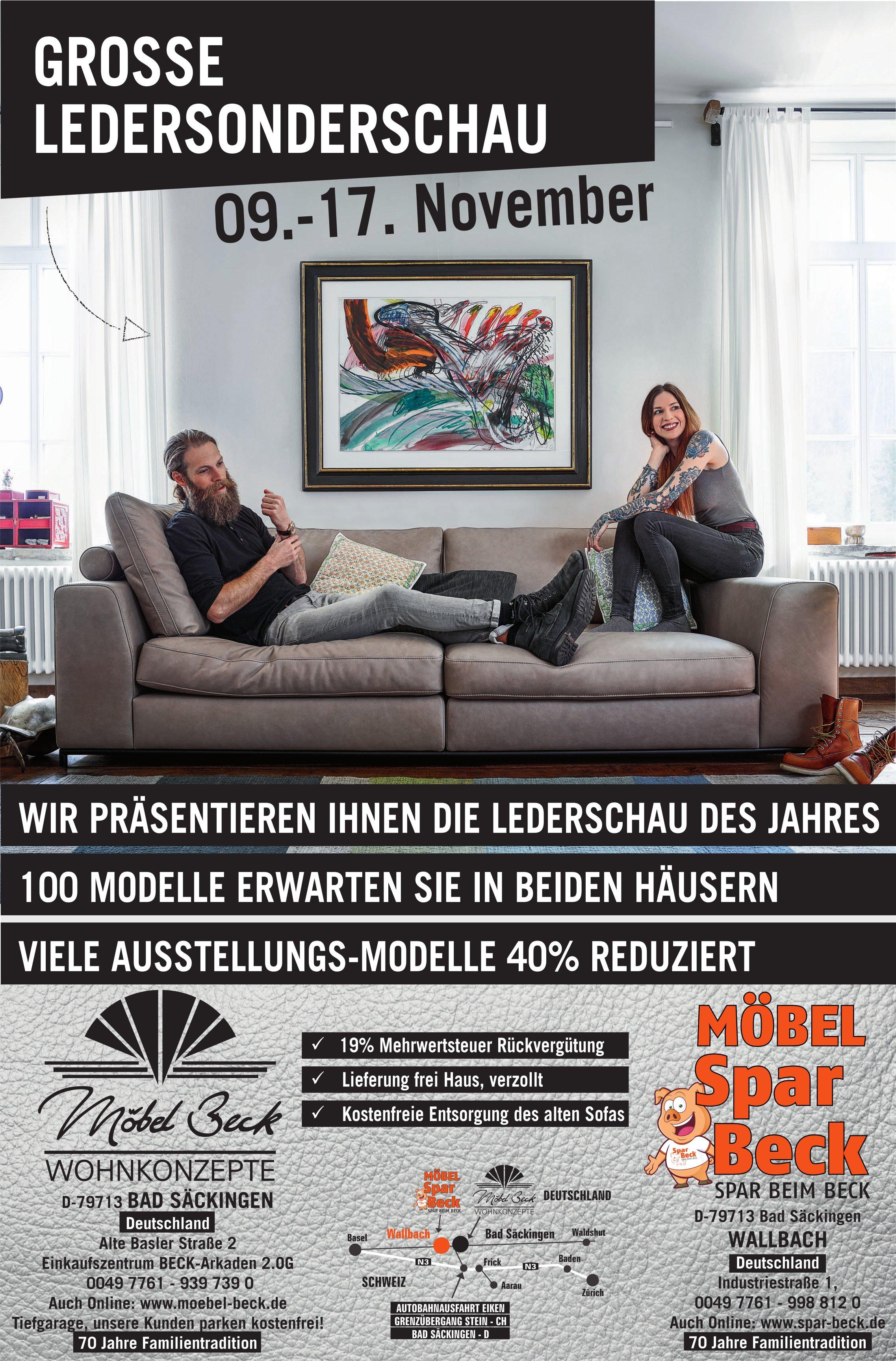 GROSSE LEDERSONDERSCHAU, 9. - 17. November, Möbel Beck, Bad Säckingen