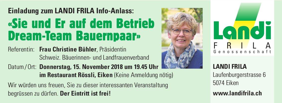 LANDI FRILA Info-Anlass «Sie und Er auf dem Betrieb Dream-Team Bauernpaar», 15. November, Eiken