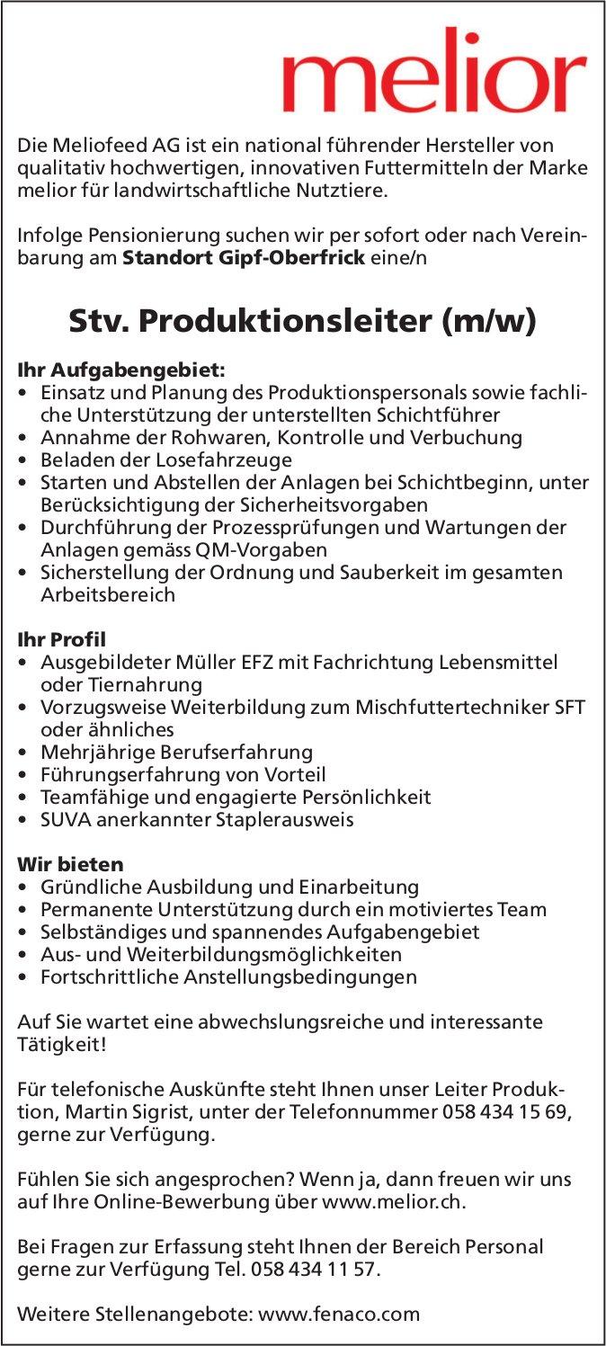 Stv. Produktionsleiter (m/w) bei Meliofeed AG gesucht