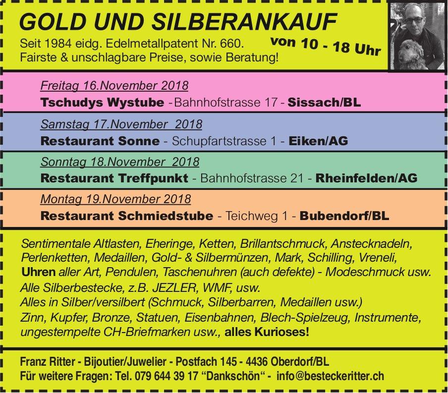 Franz Ritter, Biioutier/Juwelier - GOLD UND SILBERANKAUF, 16./17./18./19. NOVEMBER