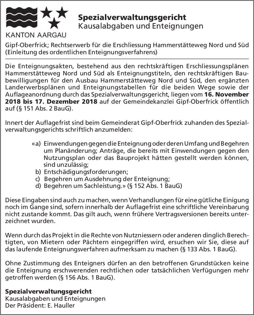 KANTON AARGAU - Spezialverwaltungsgericht Kausalabgaben und Enteignungen