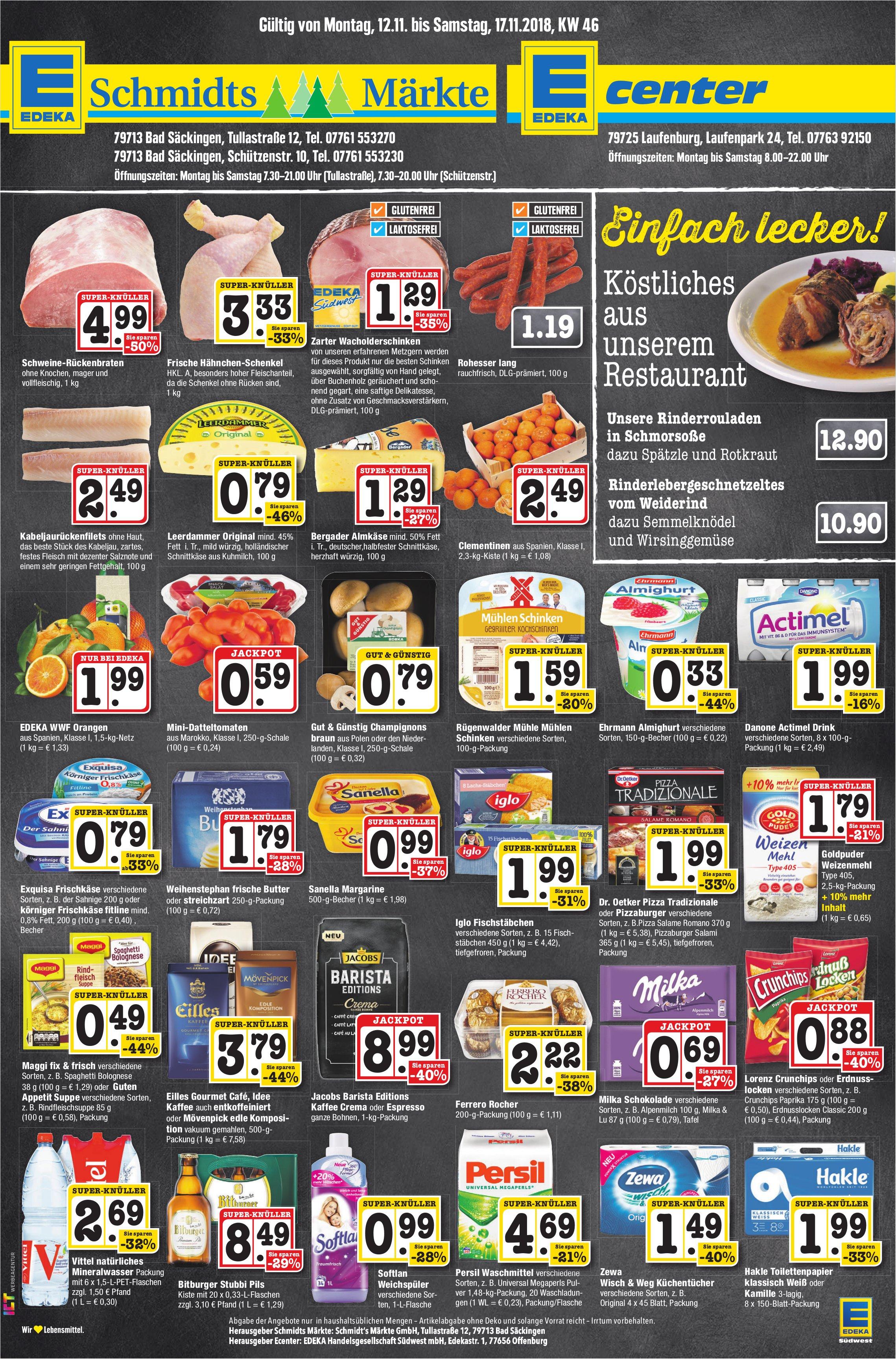 EDEKA Schmidts Märkte/ EDEKA Center - Angebote gültig vom 12. bis 17. November