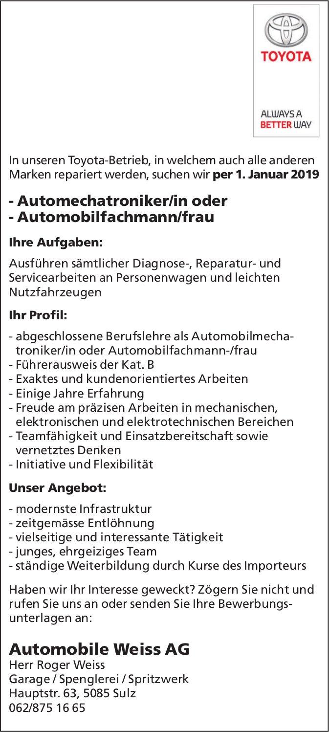 Automechatroniker/in oder Automobilfachmann/frau bei Automobile Weiss AG gesucht