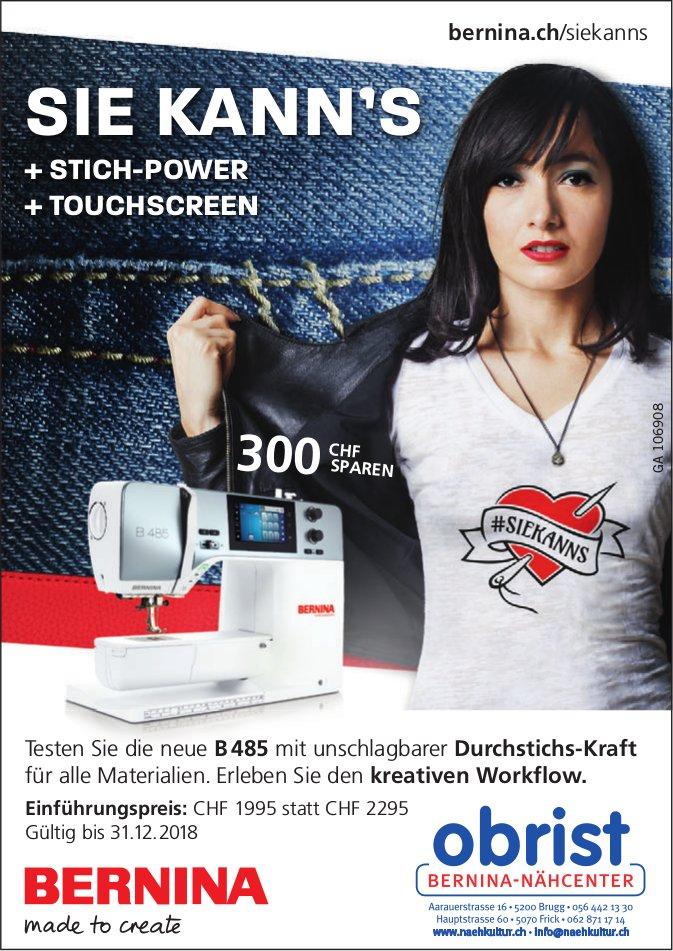 Obrist Bernina-Nähcenter - Sie Kann's: Testen Sie die neue B 485 mit unschlagbarer Durchstichs-Kraft