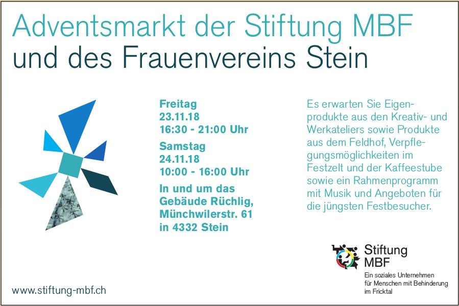 Adventsmarkt der Stiftung MBF und des Frauenvereins Stein, 23. + 24. November