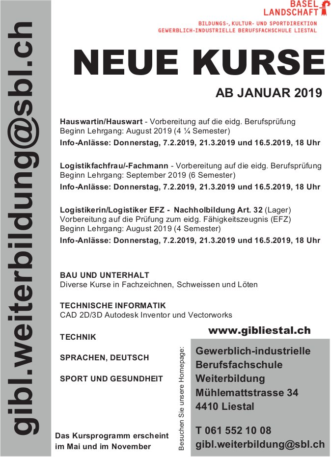 Gewerblich-industrielle Berufsfachschule Liestal - Neue Kurse ab Januar 2019
