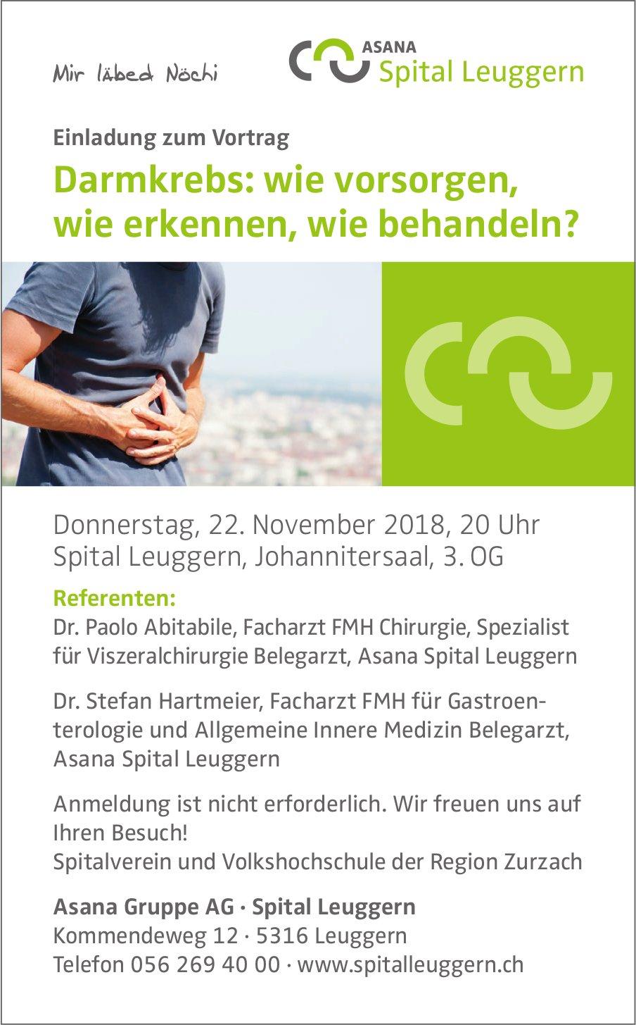 Vortrag, Darmkrebs: wie vorsorgen, wie erkennen, wie behandeln?, 22. November, Spital Leuggern