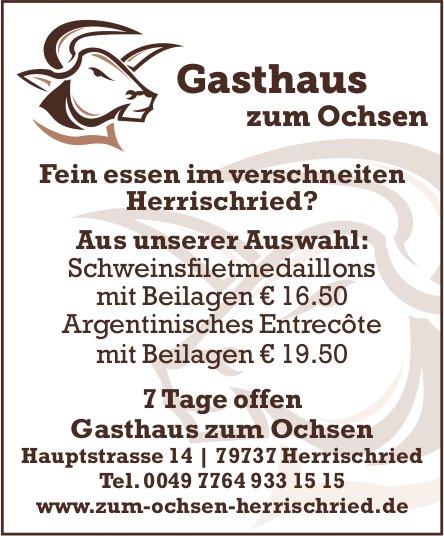 Fein essen im verschneiten Herrischried?, Gasthaus zum Ochsen, 7 Tage offen