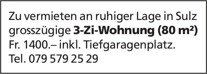 ggrosszügige 3-Zi-Wohnung (80 m²) in Sulz zu vermieten