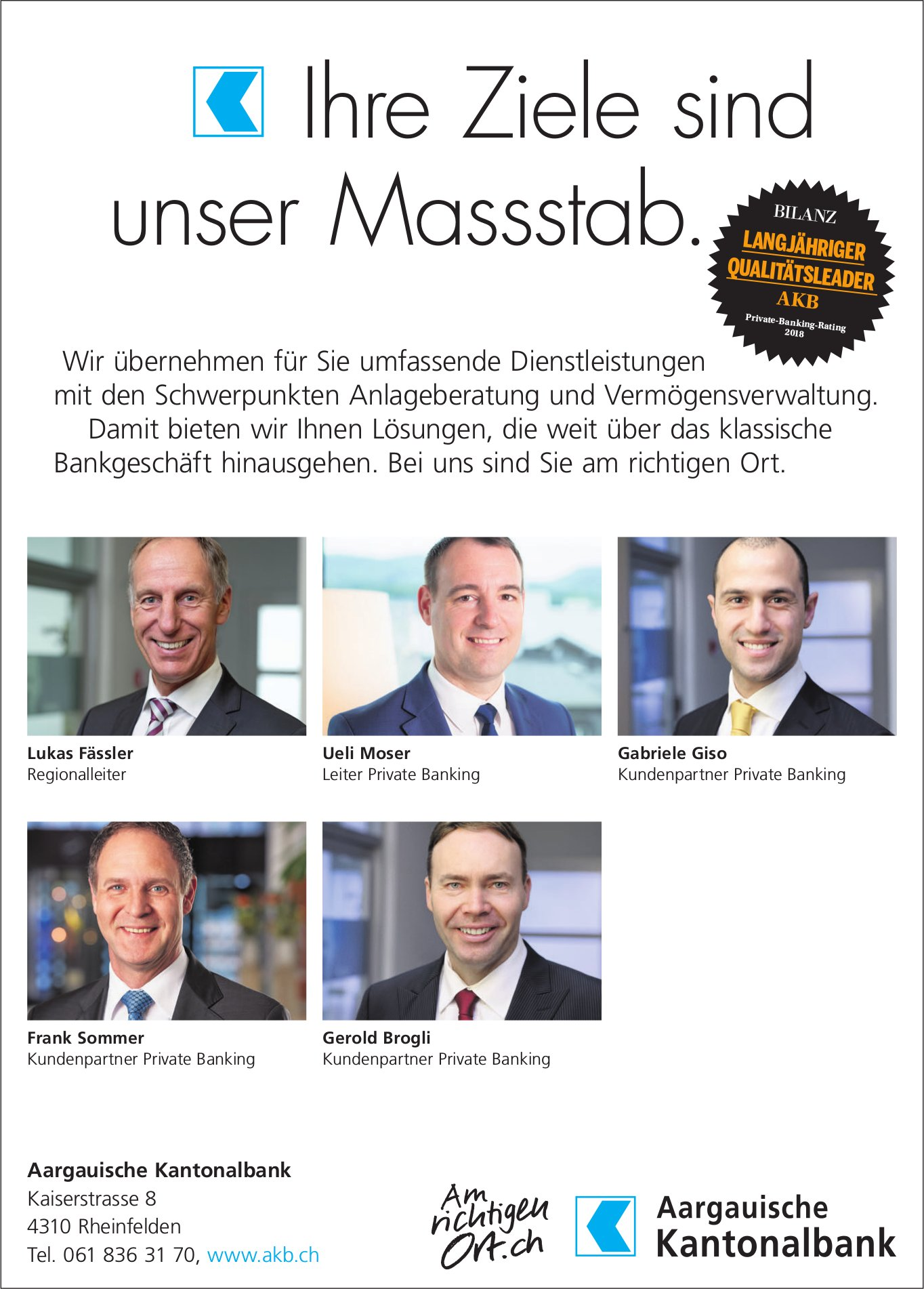 Aargauische Kantonalbank - Ihre Ziele sind unser Massstab.