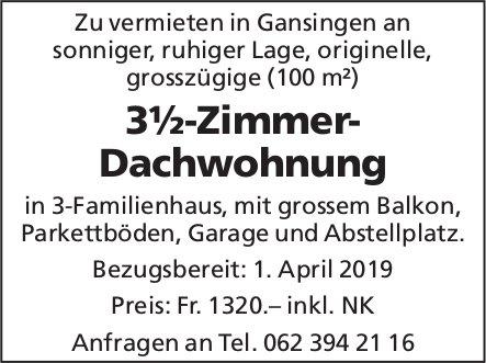 3½-Zimmer-Dachwohnung in Gansingen zu vermieten