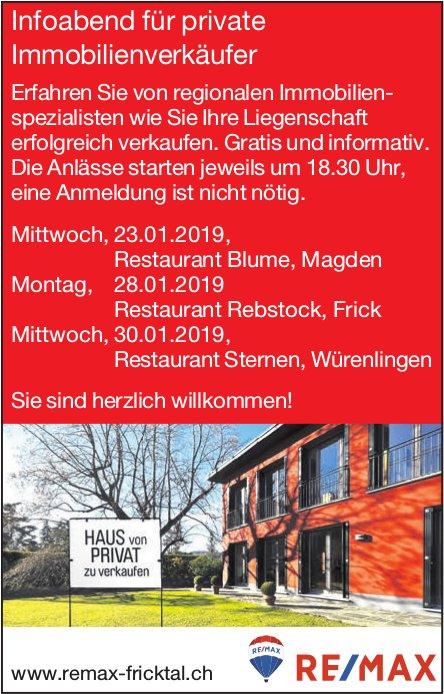 Remax Fricktal - Infoabend für private Immobilienverkäufer, 23./28./30. Januar