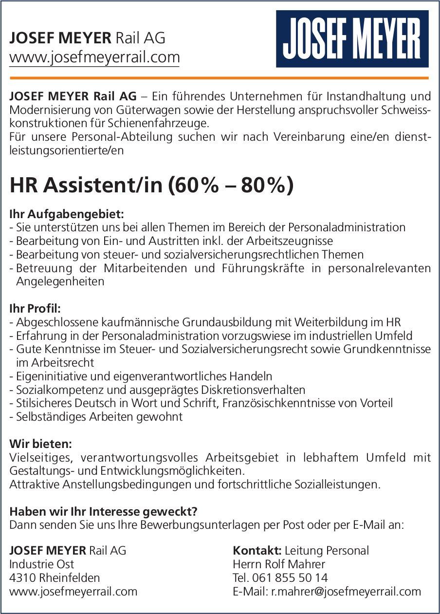 HR Assistent/in (60% – 80%) bei JOSEF MEYER Rail AG gesucht