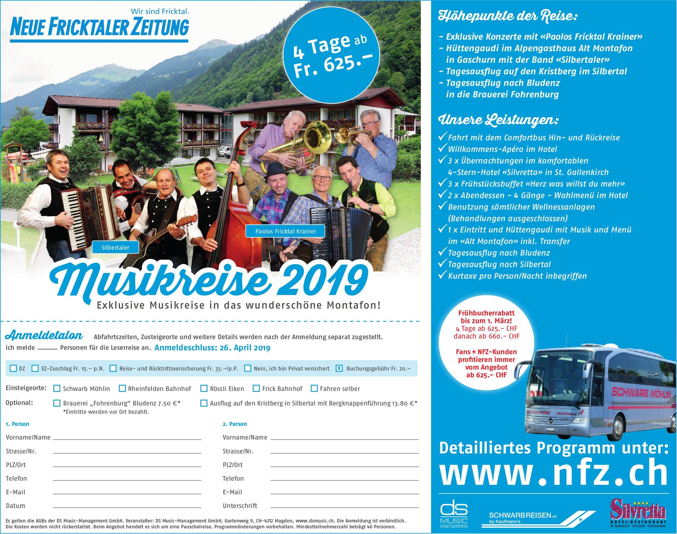 Musikreise 2019 - NEUE FRICKTALER ZEITUNG - ANmeldetalon