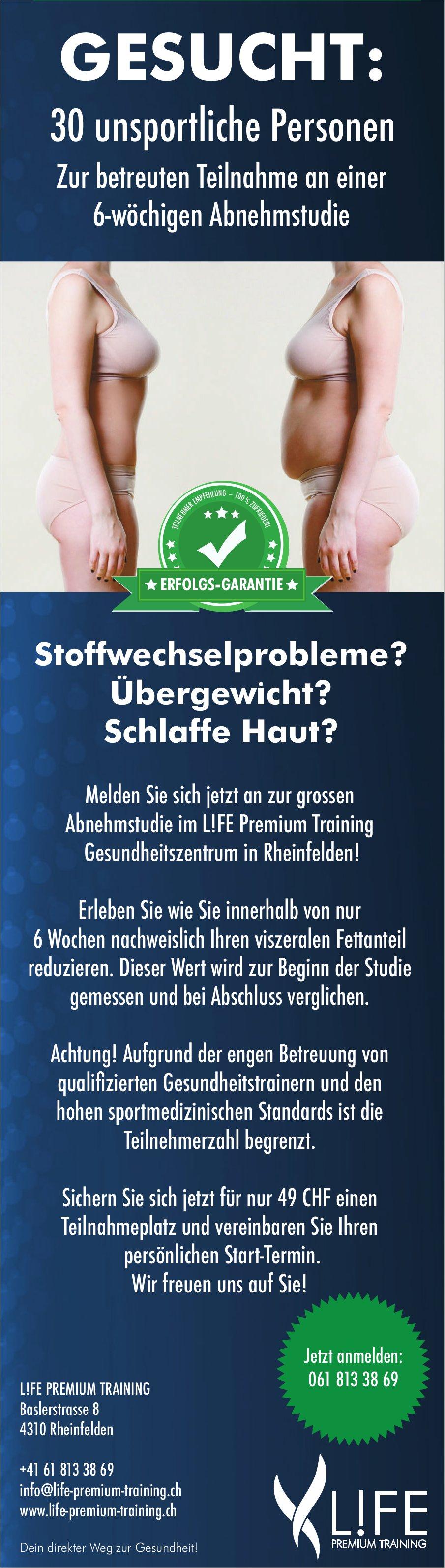 L!FE PREMIUM TRAINING, Rheinfelden - 30 unsportliche Personen gesucht