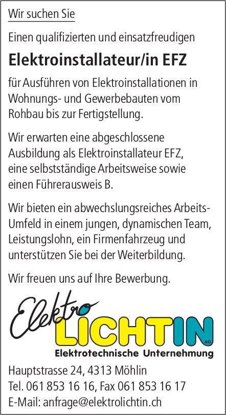 Elektroinstallateur/in EFZ bei Elektro Lichtin AG gesucht
