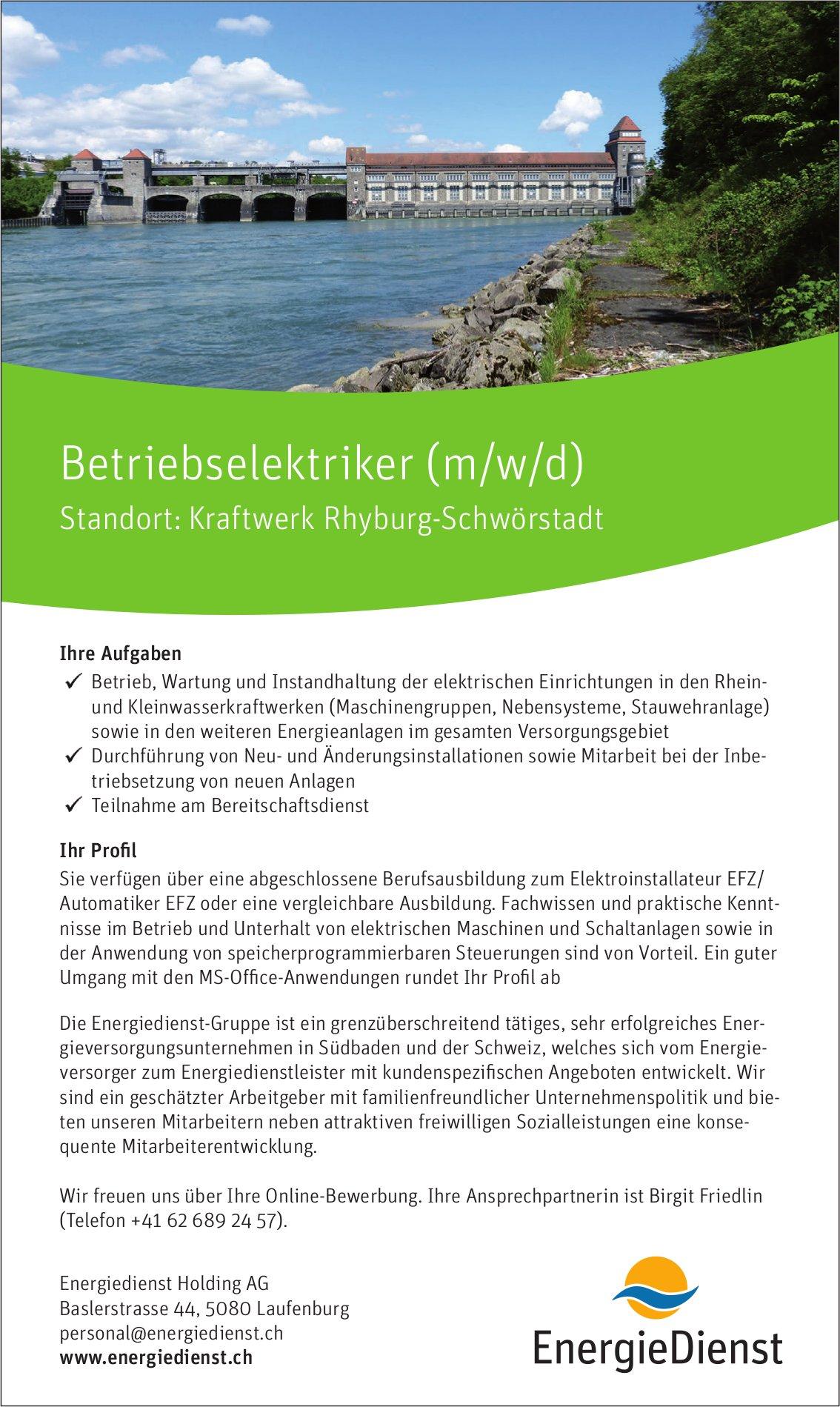 Betriebselektriker (m/w/d) bei Energiedienst Holding AG