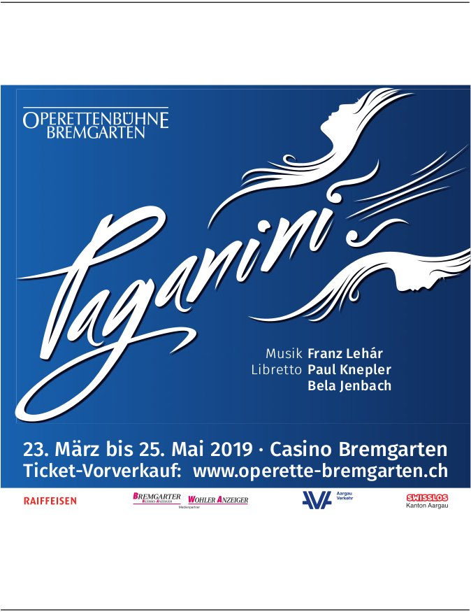 Operette, Paganini, 23. März - 25. Mai, Casino Bremgarten
