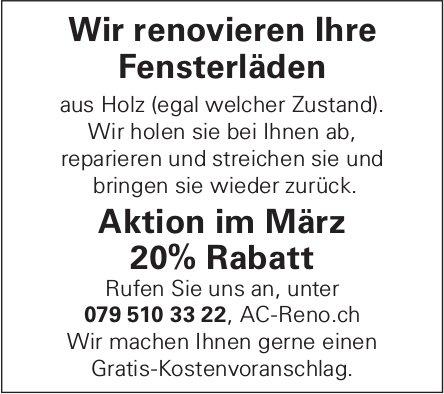 AC-Reno.ch - Wir renovieren Ihre Fensterläden: Aktion im März 20% Rabatt